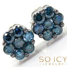1.00ct 7mm Mens Ladies 14K White Gold Blue Diamond Cluster Round Earrings