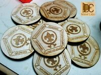 25x Custom Wooden Boy Scouts Wood Badge Coins - Personalized Tokens - Badges Lot