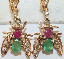 VINTAGE 9K GOLD RUBY EMERALD DIAMOND BEAUTIFUL BEE FLY INSECT DANGLE EARRINGS