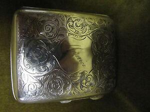 English sterling silver cigarette case Volutes decoration Maurice Birmingham 86g