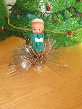 Vintage Christmas Sitting Elf Hugging Knees Tinsel Ornament Tree Topper (V18)