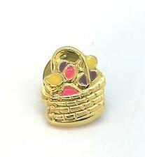 Vintage Goldtone Easter Basket Lapel Pin Brooch Colorful Enamel Eggs Spring Vtg