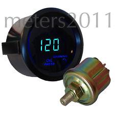 "2"" Digital Oil Pressure Meter w/sensor Blue LED Display -BLACK, ROUND"