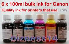 6 Bottles Refill Ink for Canon MP980 MP990 MG6150 MG6250 MG8150 MG8250 Inc Grey