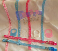 Pink Blue Hearts Stars Dummy Clip strap MAM Tommee Tippee Avent Nuby Adapter