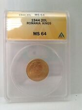 1944 Romania 20L Gold Coin ANACS MS64 20 Lei MS 64 Romanian Kings WWII Only Year