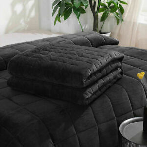 VELVET WEIGHTED GRAVITY BLANKET ANXIETY AUTISM DEPRESSION SLEEP THERAPY IN SIZES