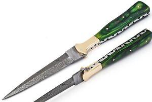 Hunting Nest!! Custom Handmade Damascus art double edge dagger boot knife 529S