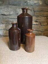 More details for set of 3 vintage glazed stoneware bottles