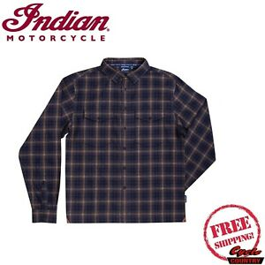 INDIAN MOTORCYCLE BRAND MEN'S TWIN POCKET PLAID LONG-SLEEVE T-SHIRT GRAY