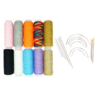 24Pcs Rainbow Cotton Sewing Threads Curved Needles Carpet Upholstery Repair