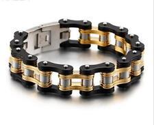 Black Gold 16mm 110g Heavy Stainless Steel Motorcycle Bike Chain Men's Bracelet