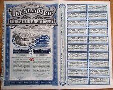 'Standard American European Mining Company' Large 1910 Stock/Bond Certificate