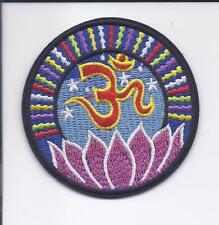 "3"" Lotus Flower Om Iron On patch YOGA Aum om infinity hindu indian ॐ patches"