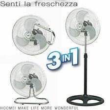 Ventilatore a Piantana Tavolo e Da Parete 3 in 1 ø 45 Cm 3 Velocità 60 W Cromato