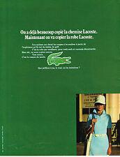 PUBLICITE ADVERTISING 104  1972  LACOSTE  pret à porter Robe femme