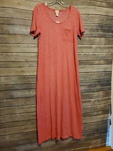 Chicos Cotton Slub Pink Midi Dress Women's Size 0 T-Shirt Style Lounge Wear NWT