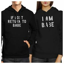 If Lost Return To Babe And I Am Babe Matching Couple Black Hoodie