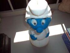 "Vintage Smurfs 1980's Piggy Bank Smurf 10.5"" Plastic Figure Toy"