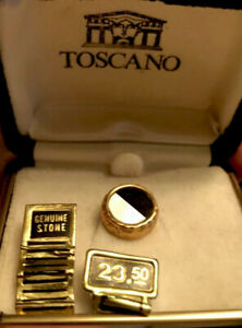 New Toscano mother of pearl and black onyx gold tone tie tack in original box
