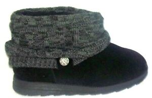 NEW MUK LUKS PATTI BLACK FAUX SUEDE & SWEATHER KNIT ANKLE BOOTS 10 M