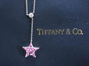 "Tiffany & Co Platinum Pink Sapphire Diamond Star Pendant Necklace 16"" .95Ct"