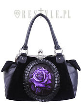 Restyle Purple Rose Goth Velvet Emo Punk Skull Skeleton Black Bag Purse Handbag