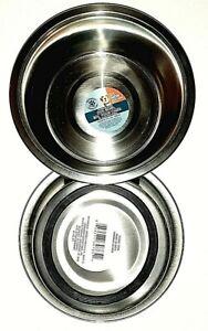 Lot of 2 Stainless Steel Black Large Pet Dog Cat Food Water Bowl Dish 52.4 oz