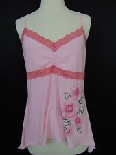 Perseption Floral Print Spaghetti Strap Lace Trim Tank, Camisole Pink Large #943