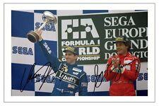 Damon Hill and AYRTON SENNA F1 FORMULA ONE AUTOGRAPH SIGNED FOTO STAMPA