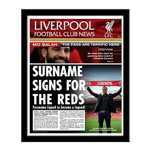Personalised LIVERPOOL FC Newspaper Print Page, Folder, Frame Fan Gift Football