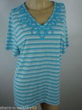 Maglie e camicie da donna maniche a 3/4 blu a fantasia righe