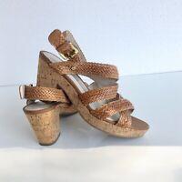 Dana Buchman Women's Cork Wedge Platform Heels Sandals Size 8 Lulu Cognac Brown