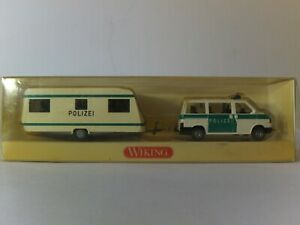Wiking HO 1:87 VW Polizei Caravelle with caravan unused in original box