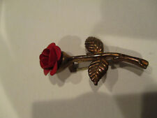 Antique Red Rose Copper (?) Brooch with C Clasp