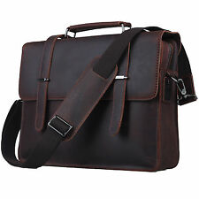 "Genuine Leather Messenger Laptop Case 14"" Retro Business Notebook Bag Briefcases"