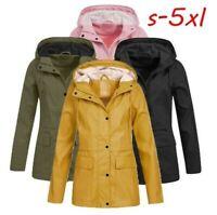 Women Solid Rain Jacket Outdoor Hoodie Waterproof Overcoat Lady Windproof Coat