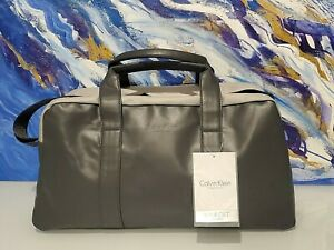 CALVIN KLEIN dark gray faux leather duffle bag /gym/travel.