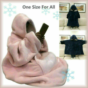Blanket Sweatshirt Sherpa Lining Plush Comfy Fleece Oversized Hoodie w/ Pocket