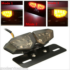 Smoke 18LED Motorcycle Turn Signal Brake License Plate Integrated Tail Light 12V