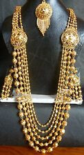 12'' Long 22K Gold Plated Fashion Necklace Earrings South Indian Wedding Set 10