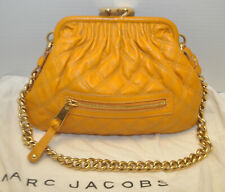 Marc Jacobs Quilted Leather Link Gold Chain Kisslock Stam Shoulder Yellow $895