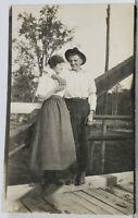 SHAWANO Wis RPPC Couple Posing on Bridge Alex & Julia Kroening Postcard K14
