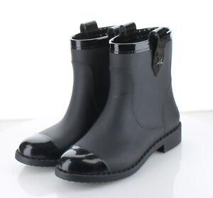 Y16 MSRP $350 Women's Sz 37 Jimmy Choo Edie Rubber Short Rain Boot - Black