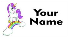 65 Personalised waterproof school name label sticker Unicornis for shoes,bottle