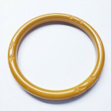 Vintage Carved Bakelite Yellow Bangle Bracelet Tested Simichrome