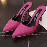 Sexy Women Pointy Toe High Stilettos Heel Slip On Mules Slipper Shoes Sandals
