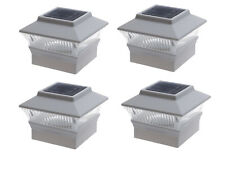 4x4 Solar Powered Outdoor Garden LED White Post Fence Cap Square Light 4-Pack