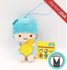 """Sanrio Little Twin Stars 4.7"""" Plush Kiki banana Blue Keychain Strap Doll Mascot"""