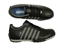 MENS NEW KSWISS ARVEE TRAINERS BLACK CHARCOAL ACE UP LEATHER SNEAKERS SIZE 6-12